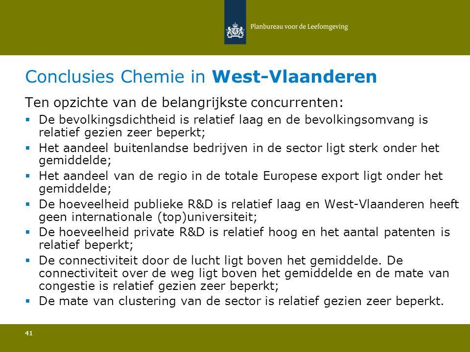Conclusies Chemie in West-Vlaanderen 41 Ten opzichte van de belangrijkste concurrenten:  De bevolkingsdichtheid is relatief laag en de bevolkingsomva