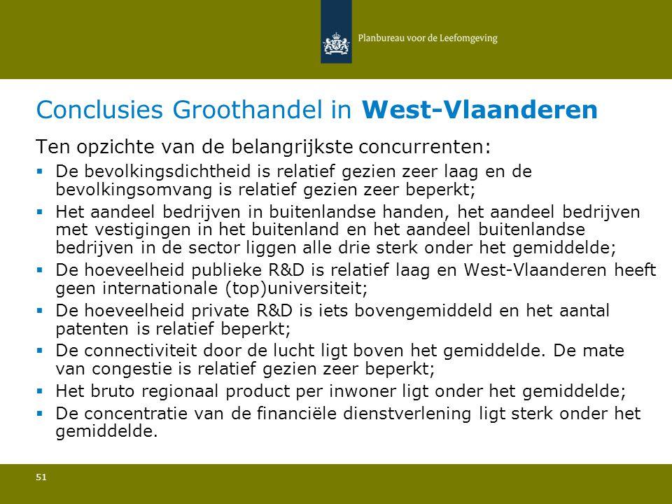 Conclusies Groothandel in West-Vlaanderen 51 Ten opzichte van de belangrijkste concurrenten:  De bevolkingsdichtheid is relatief gezien zeer laag en