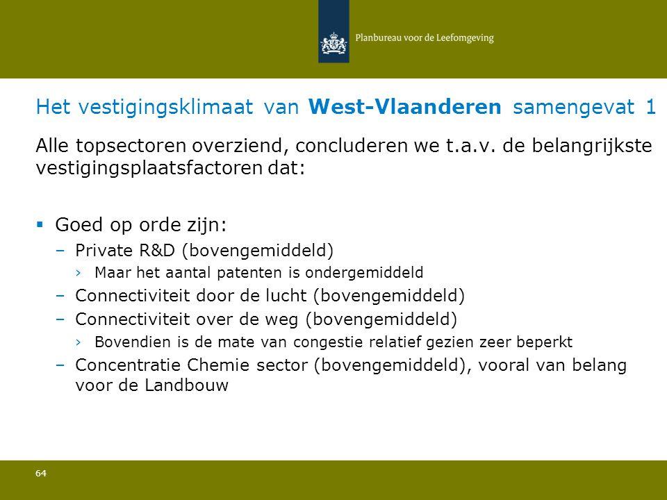 Het vestigingsklimaat van West-Vlaanderen samengevat 1 64 Alle topsectoren overziend, concluderen we t.a.v. de belangrijkste vestigingsplaatsfactoren