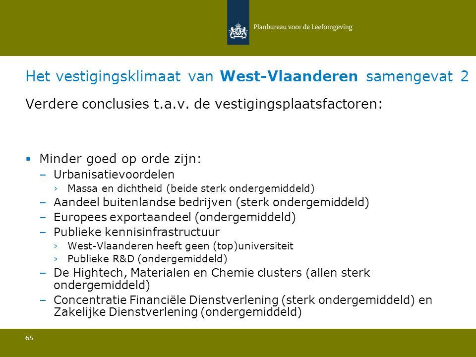 Het vestigingsklimaat van West-Vlaanderen samengevat 2 65 Verdere conclusies t.a.v. de vestigingsplaatsfactoren:  Minder goed op orde zijn: –Urbanisa