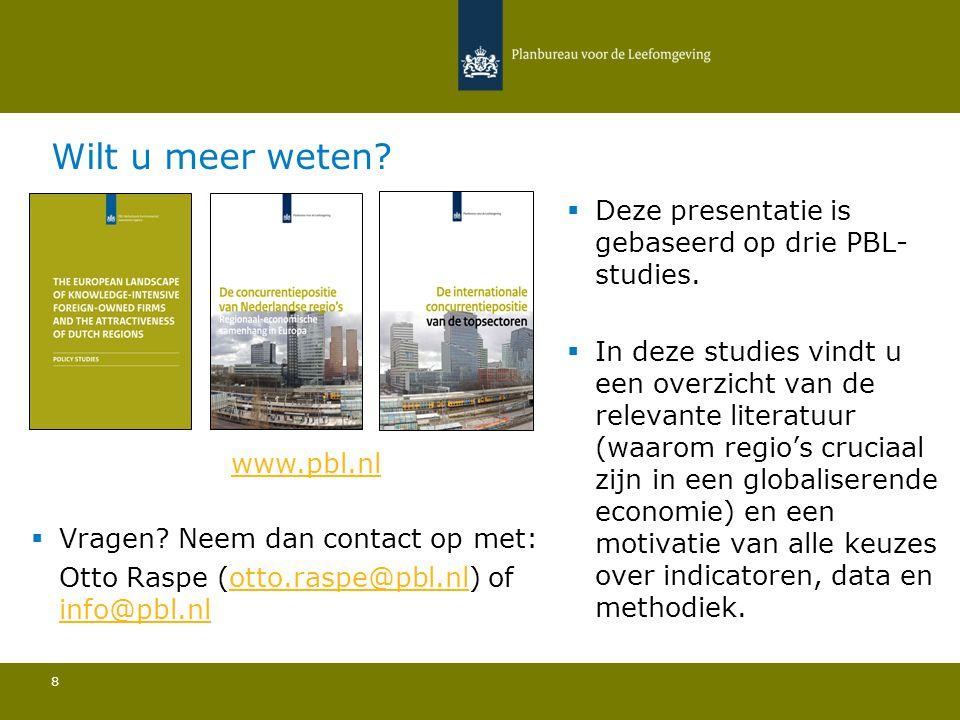 Conclusies Materialen in West-Vlaanderen 29 Ten opzichte van de belangrijkste concurrenten:  De bevolkingsdichtheid is relatief laag en de bevolkingsomvang is relatief gezien zeer beperkt; Het aandeel buitenlandse bedrijven in de sector ligt sterk onder het gemiddelde; Het aandeel van de regio in de totale Europese export ligt iets boven het gemiddelde; De hoeveelheid publieke R&D is relatief laag en West-Vlaanderen heeft geen internationale (top)universiteit; De hoeveelheid private R&D is iets bovengemiddeld en het aantal patenten is relatief beperkt; De connectiviteit door de lucht ligt boven het gemiddelde.