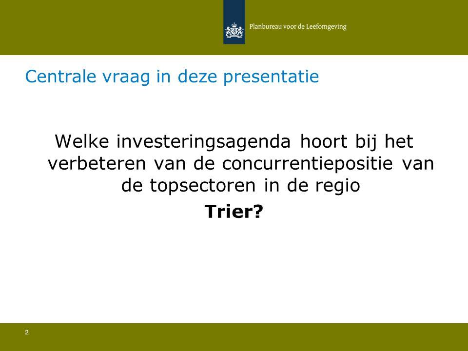 Centrale vraag in deze presentatie 2 Welke investeringsagenda hoort bij het verbeteren van de concurrentiepositie van de topsectoren in de regio Trier