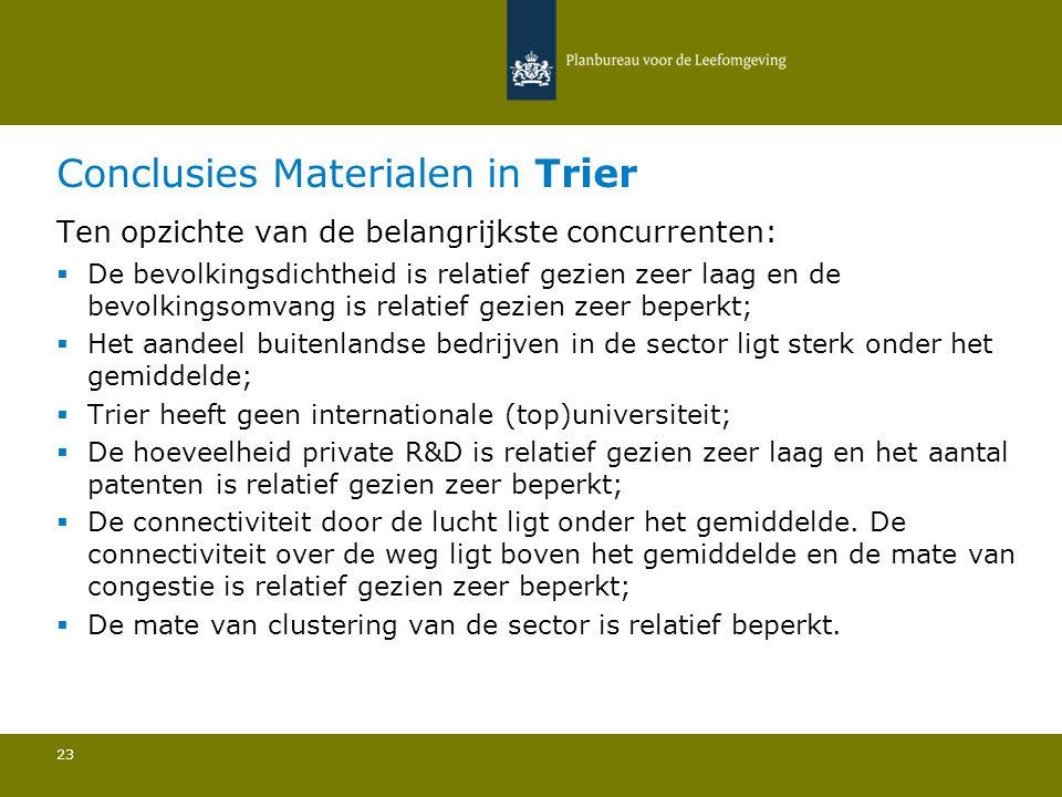 Conclusies Materialen in Trier 23 Ten opzichte van de belangrijkste concurrenten:  De bevolkingsdichtheid is relatief gezien zeer laag en de bevolkin