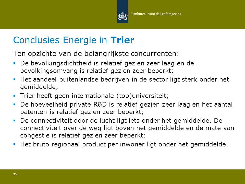 Conclusies Energie in Trier 35 Ten opzichte van de belangrijkste concurrenten:  De bevolkingsdichtheid is relatief gezien zeer laag en de bevolkingso