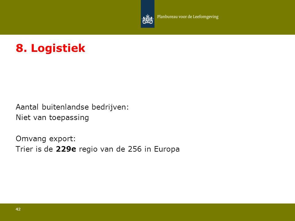Aantal buitenlandse bedrijven: Niet van toepassing 42 8. Logistiek Omvang export: Trier is de 229e regio van de 256 in Europa