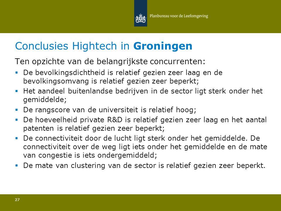 Conclusies Hightech in Groningen 27 Ten opzichte van de belangrijkste concurrenten:  De bevolkingsdichtheid is relatief gezien zeer laag en de bevolkingsomvang is relatief gezien zeer beperkt; Het aandeel buitenlandse bedrijven in de sector ligt sterk onder het gemiddelde; De rangscore van de universiteit is relatief hoog; De hoeveelheid private R&D is relatief gezien zeer laag en het aantal patenten is relatief gezien zeer beperkt; De connectiviteit door de lucht ligt sterk onder het gemiddelde.