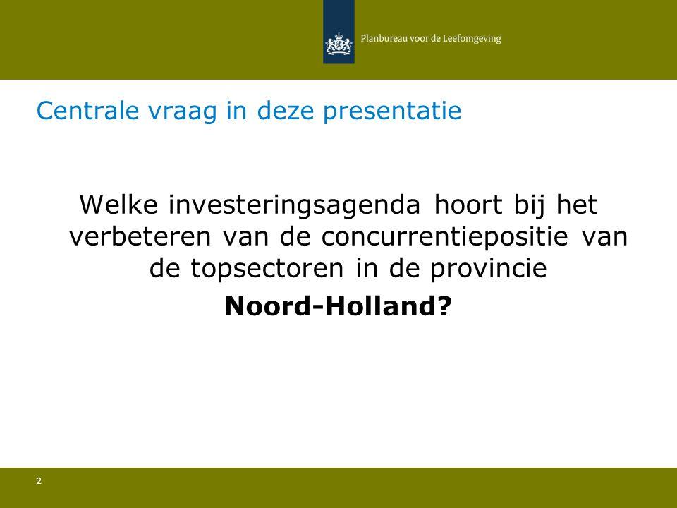 Centrale vraag in deze presentatie 2 Welke investeringsagenda hoort bij het verbeteren van de concurrentiepositie van de topsectoren in de provincie Noord-Holland