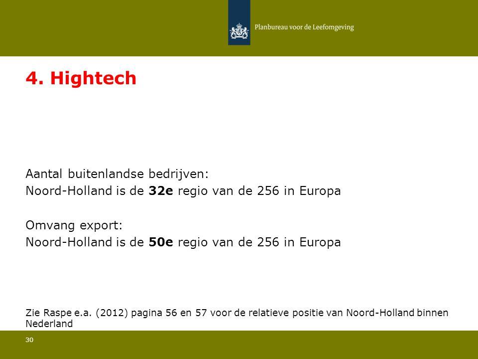 Aantal buitenlandse bedrijven: Noord-Holland is de 32e regio van de 256 in Europa 30 4. Hightech Omvang export: Noord-Holland is de 50e regio van de 2