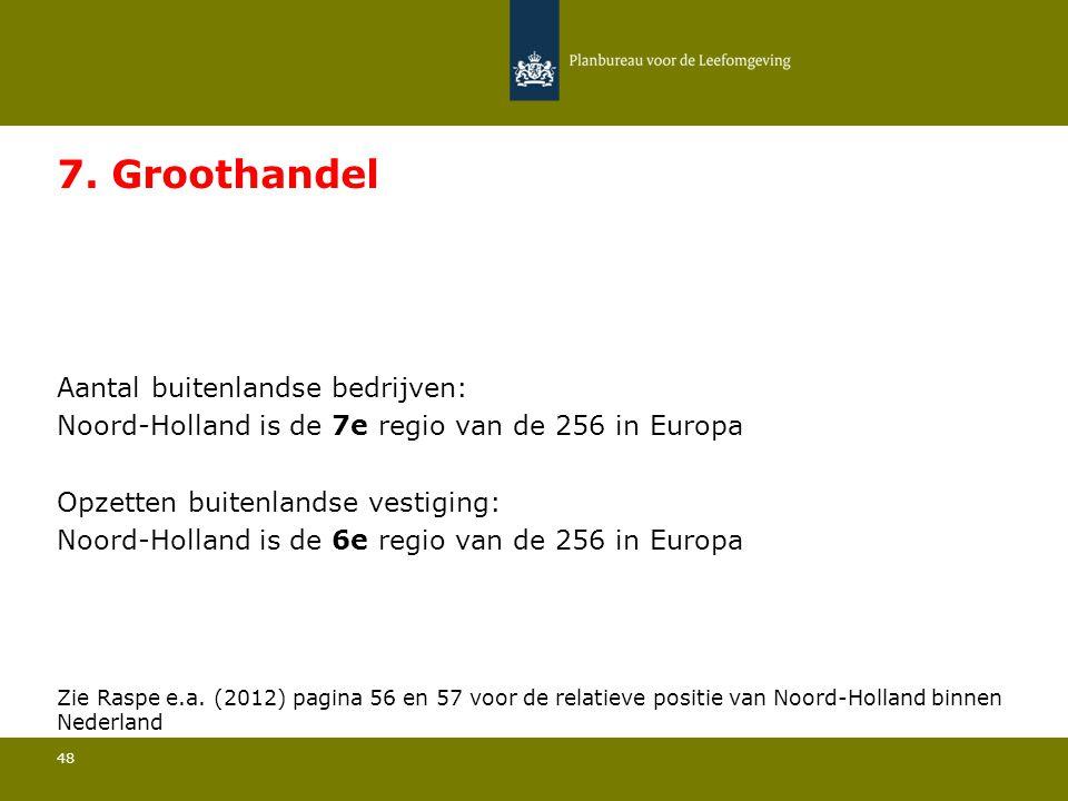 Aantal buitenlandse bedrijven: Noord-Holland is de 7e regio van de 256 in Europa 48 7. Groothandel Opzetten buitenlandse vestiging: Noord-Holland is d