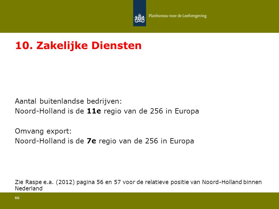 Aantal buitenlandse bedrijven: Noord-Holland is de 11e regio van de 256 in Europa 66 10. Zakelijke Diensten Omvang export: Noord-Holland is de 7e regi