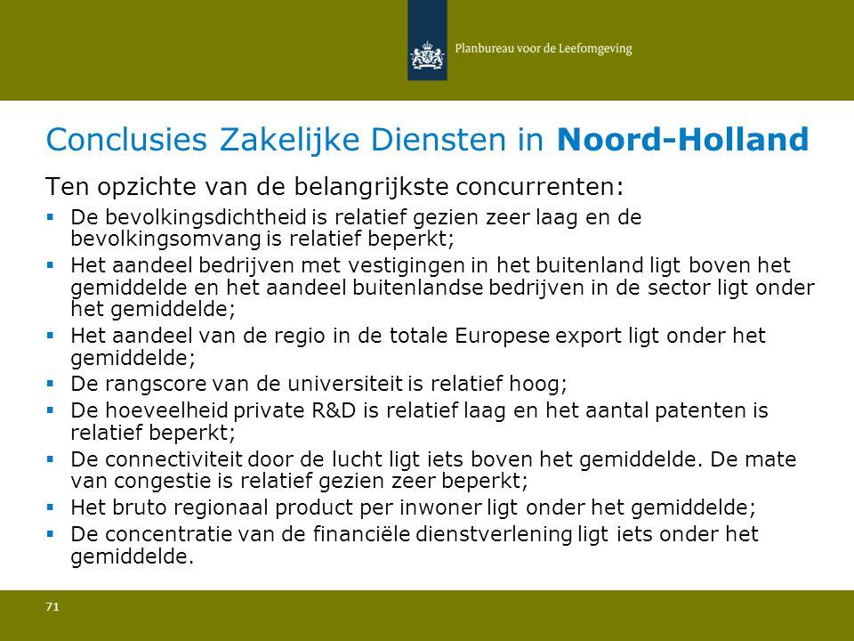 Conclusies Zakelijke Diensten in Noord-Holland 71 Ten opzichte van de belangrijkste concurrenten:  De bevolkingsdichtheid is relatief gezien zeer laa