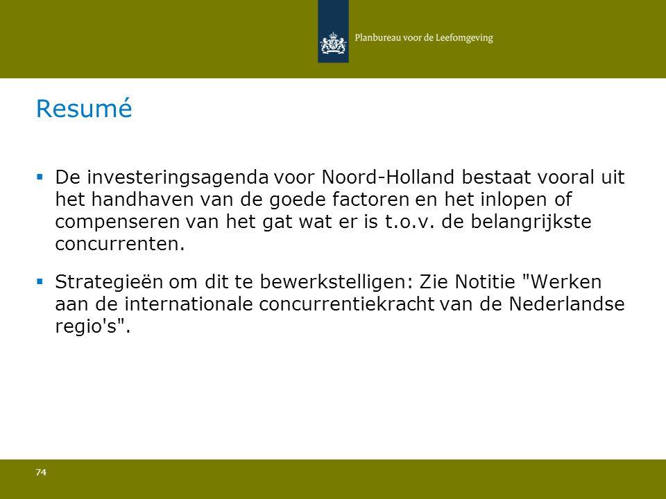  De investeringsagenda voor Noord-Holland bestaat vooral uit het handhaven van de goede factoren en het inlopen of compenseren van het gat wat er is