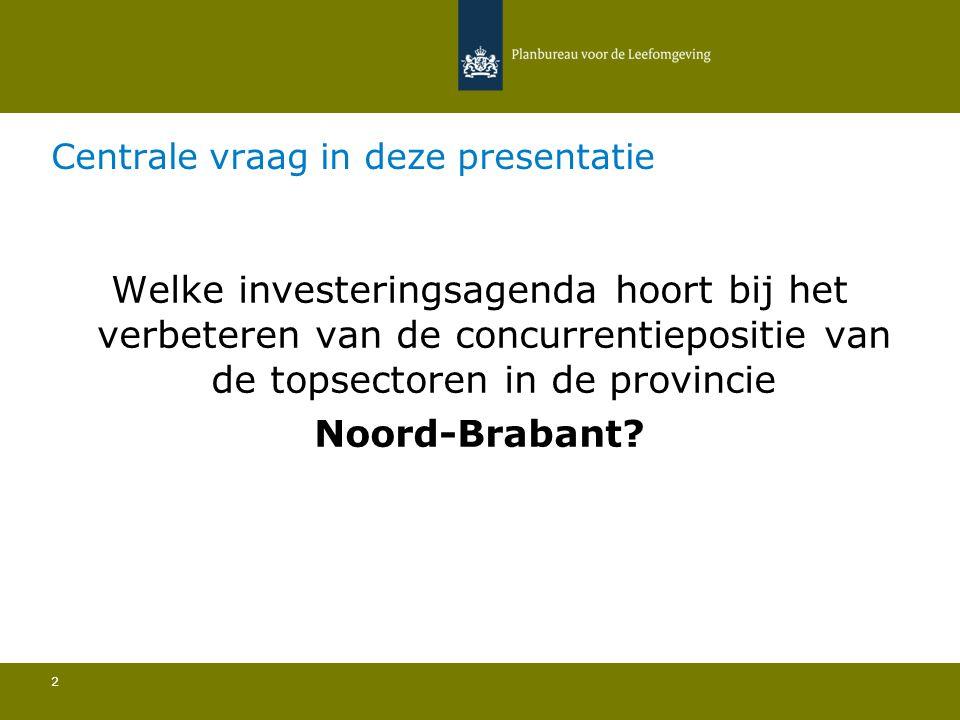 Centrale vraag in deze presentatie 2 Welke investeringsagenda hoort bij het verbeteren van de concurrentiepositie van de topsectoren in de provincie Noord-Brabant