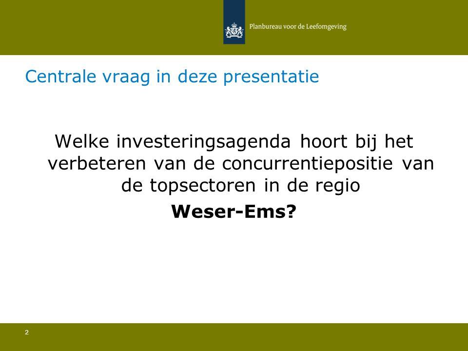 Centrale vraag in deze presentatie 2 Welke investeringsagenda hoort bij het verbeteren van de concurrentiepositie van de topsectoren in de regio Weser-Ems?