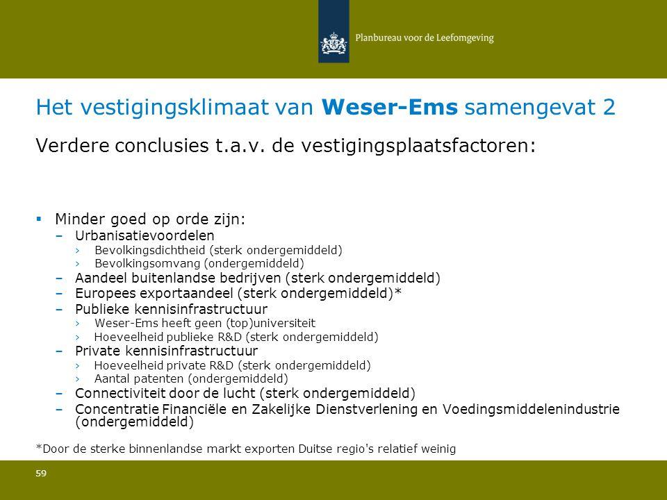 Het vestigingsklimaat van Weser-Ems samengevat 2 59 Verdere conclusies t.a.v.