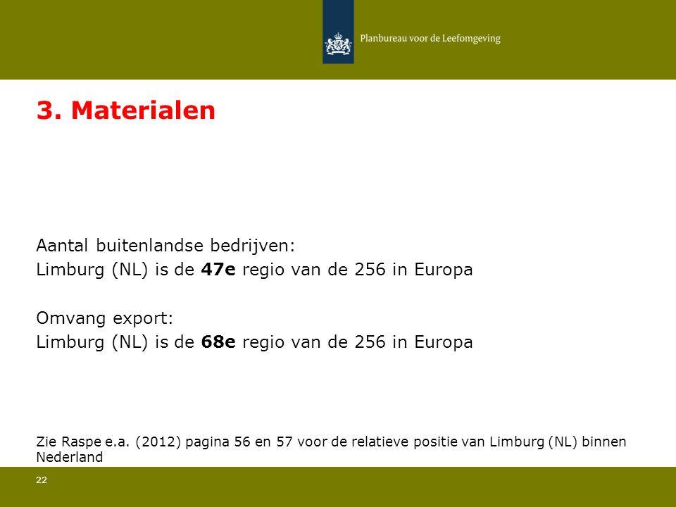 Aantal buitenlandse bedrijven: Limburg (NL) is de 47e regio van de 256 in Europa 22 3. Materialen Omvang export: Limburg (NL) is de 68e regio van de 2