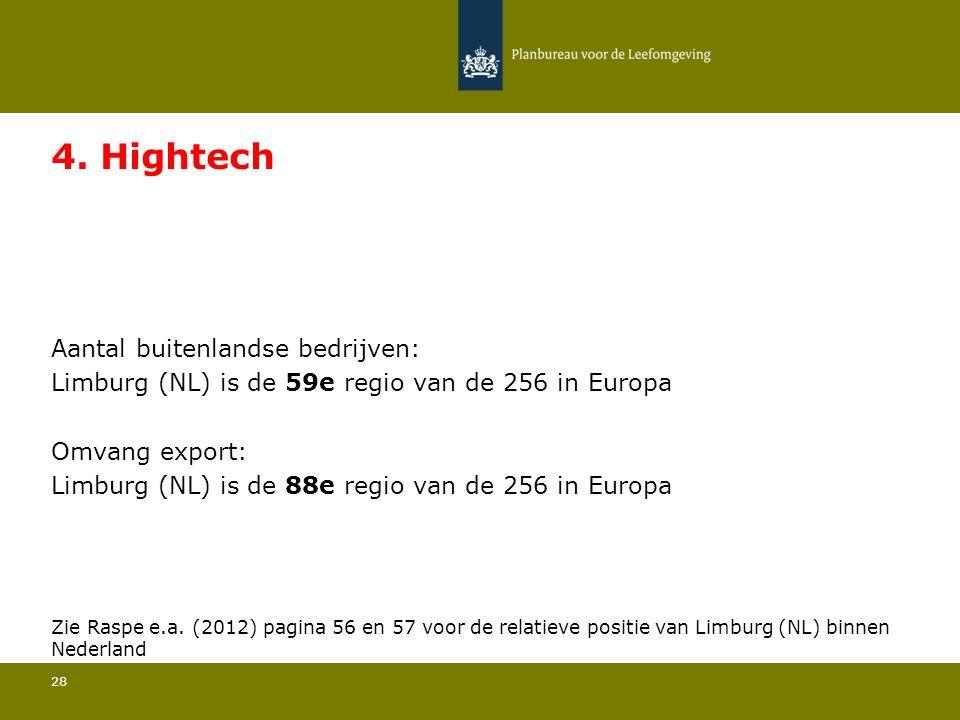 Aantal buitenlandse bedrijven: Limburg (NL) is de 59e regio van de 256 in Europa 28 4. Hightech Omvang export: Limburg (NL) is de 88e regio van de 256