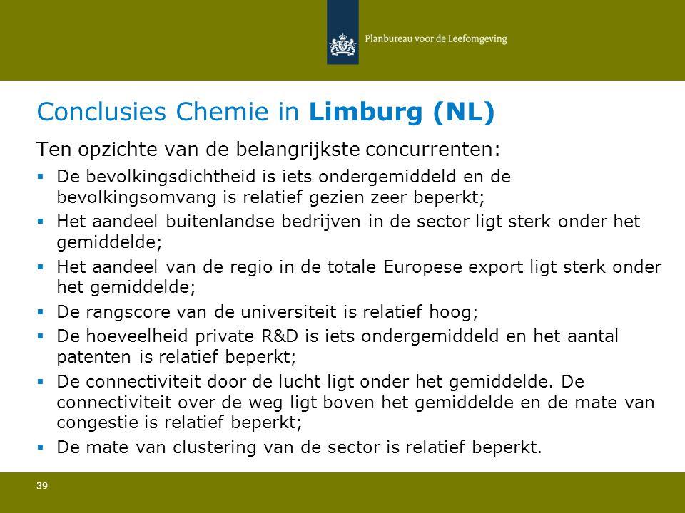 Conclusies Chemie in Limburg (NL) 39 Ten opzichte van de belangrijkste concurrenten:  De bevolkingsdichtheid is iets ondergemiddeld en de bevolkingso