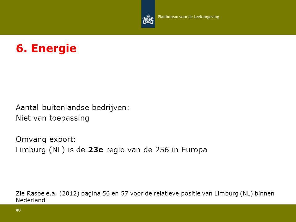 Aantal buitenlandse bedrijven: Niet van toepassing 40 6. Energie Omvang export: Limburg (NL) is de 23e regio van de 256 in Europa Zie Raspe e.a. (2012