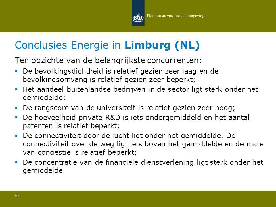 Conclusies Energie in Limburg (NL) 43 Ten opzichte van de belangrijkste concurrenten:  De bevolkingsdichtheid is relatief gezien zeer laag en de bevo