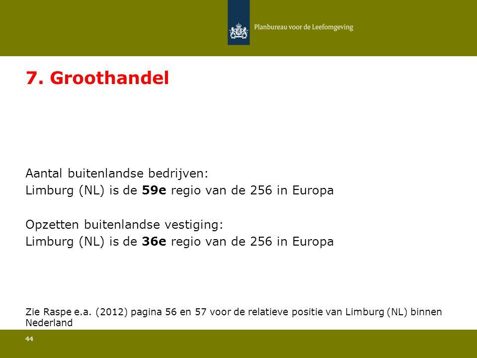 Aantal buitenlandse bedrijven: Limburg (NL) is de 59e regio van de 256 in Europa 44 7. Groothandel Opzetten buitenlandse vestiging: Limburg (NL) is de
