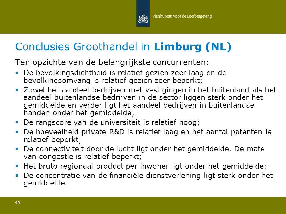 Conclusies Groothandel in Limburg (NL) 49 Ten opzichte van de belangrijkste concurrenten:  De bevolkingsdichtheid is relatief gezien zeer laag en de