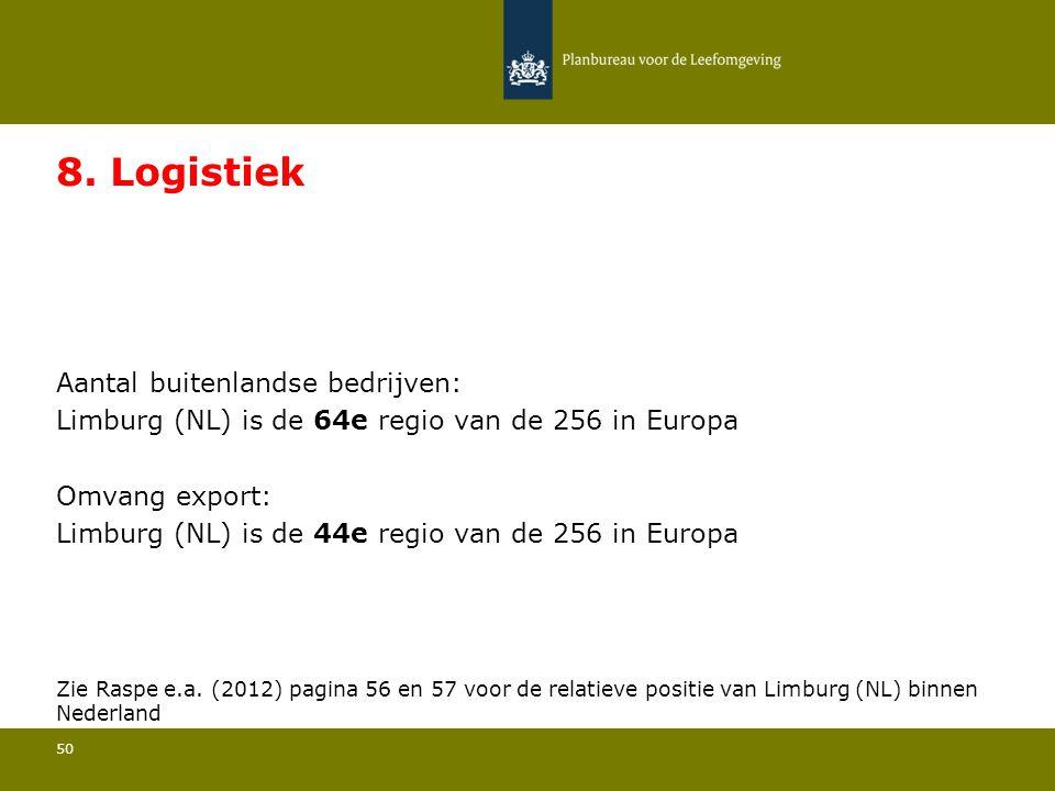 Aantal buitenlandse bedrijven: Limburg (NL) is de 64e regio van de 256 in Europa 50 8. Logistiek Omvang export: Limburg (NL) is de 44e regio van de 25