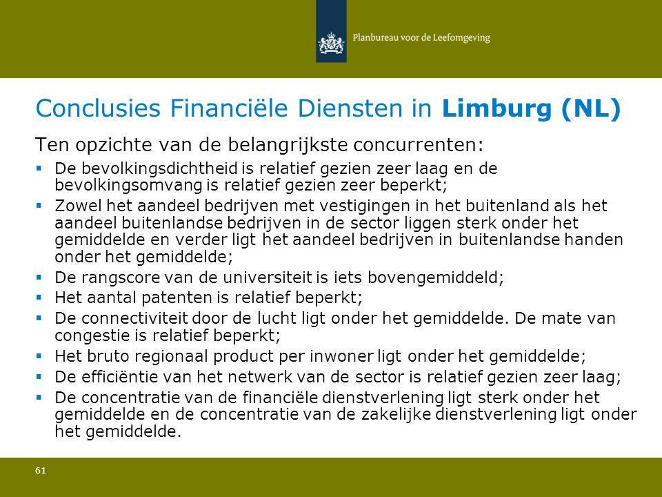 Conclusies Financiële Diensten in Limburg (NL) 61 Ten opzichte van de belangrijkste concurrenten:  De bevolkingsdichtheid is relatief gezien zeer laa