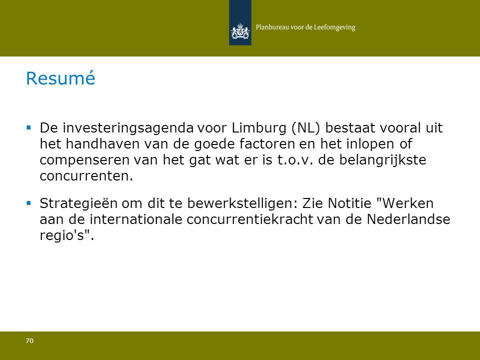  De investeringsagenda voor Limburg (NL) bestaat vooral uit het handhaven van de goede factoren en het inlopen of compenseren van het gat wat er is t