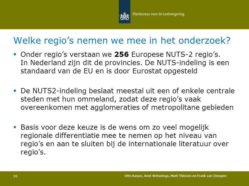 Welke regio's nemen we mee in het onderzoek? 10  Onder regio's verstaan we 256 Europese NUTS-2 regio's. In Nederland zijn dit de provincies. De NUTS-