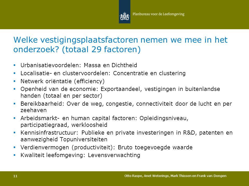 Welke vestigingsplaatsfactoren nemen we mee in het onderzoek? (totaal 29 factoren) 11  Urbanisatievoordelen: Massa en Dichtheid  Localisatie- en clu