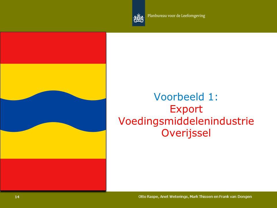 Voorbeeld 1: Export Voedingsmiddelenindustrie Overijssel Otto Raspe, Anet Weterings, Mark Thissen en Frank van Dongen 14