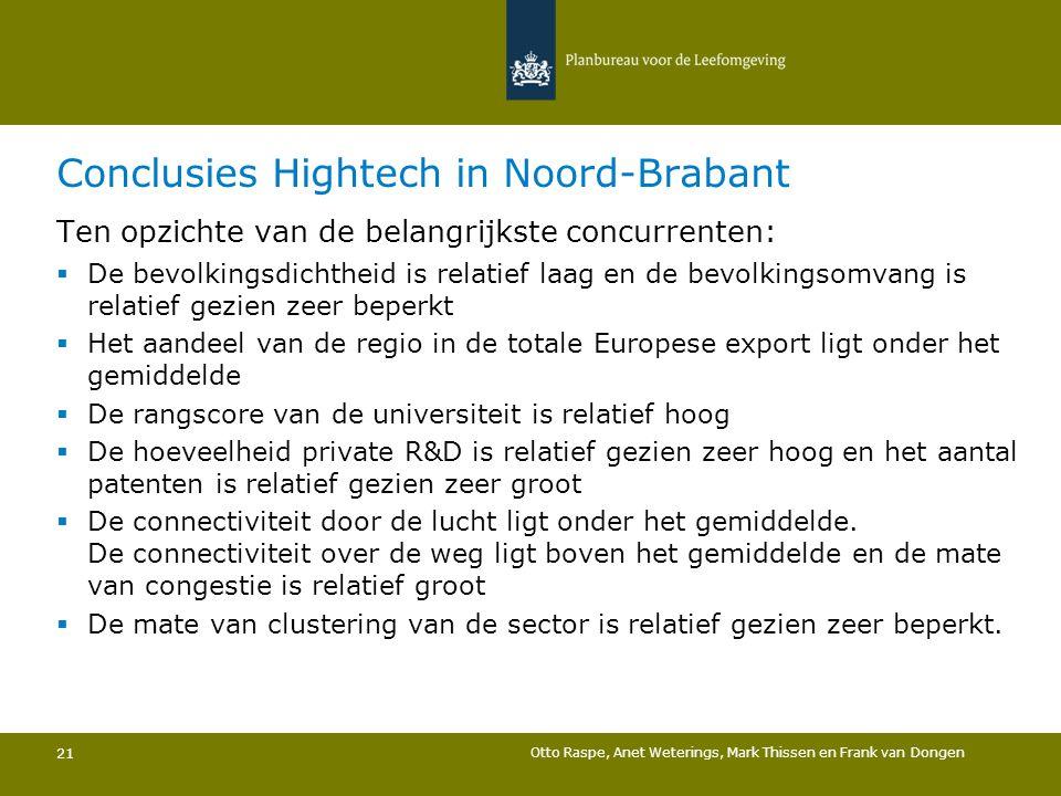 Conclusies Hightech in Noord-Brabant 21 Ten opzichte van de belangrijkste concurrenten:  De bevolkingsdichtheid is relatief laag en de bevolkingsomva