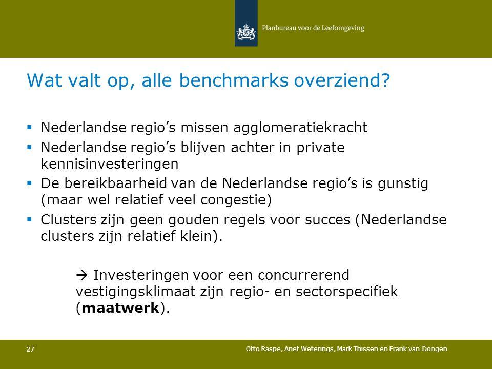 Wat valt op, alle benchmarks overziend?  Nederlandse regio's missen agglomeratiekracht  Nederlandse regio's blijven achter in private kennisinvester