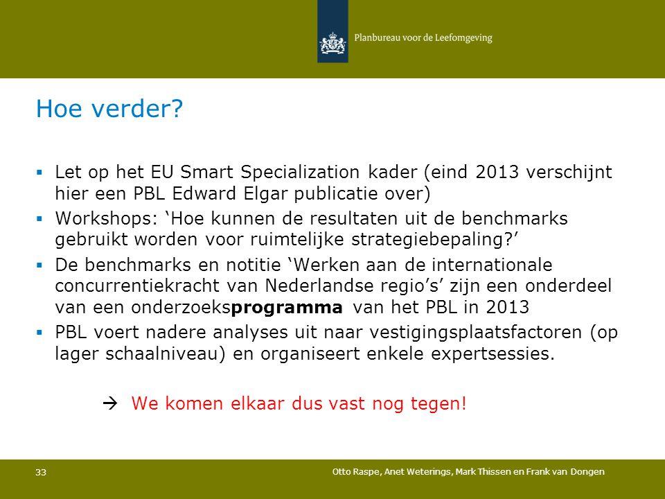 Hoe verder?  Let op het EU Smart Specialization kader (eind 2013 verschijnt hier een PBL Edward Elgar publicatie over)  Workshops: 'Hoe kunnen de re