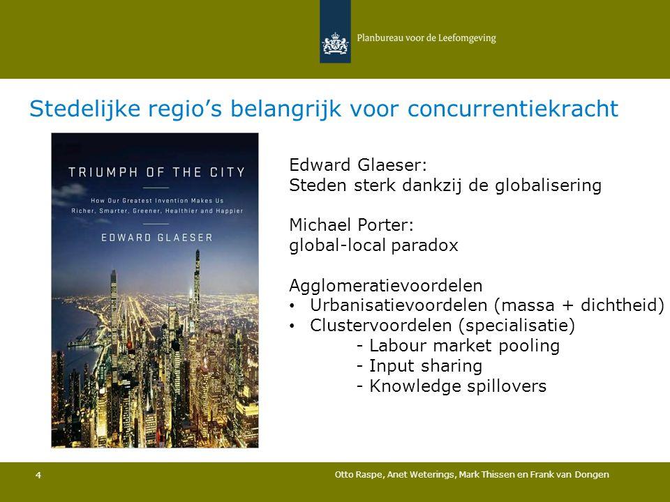 Otto Raspe, Anet Weterings, Mark Thissen en Frank van Dongen 4 Stedelijke regio's belangrijk voor concurrentiekracht Edward Glaeser: Steden sterk dank