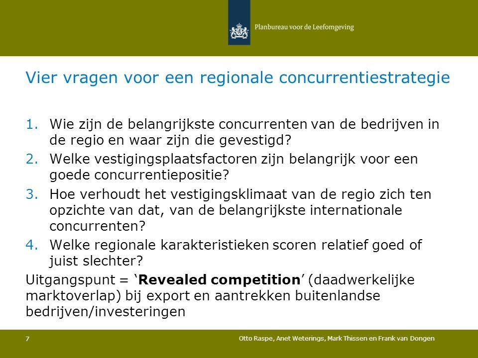 Vier vragen voor een regionale concurrentiestrategie 1.Wie zijn de belangrijkste concurrenten van de bedrijven in de regio en waar zijn die gevestigd?