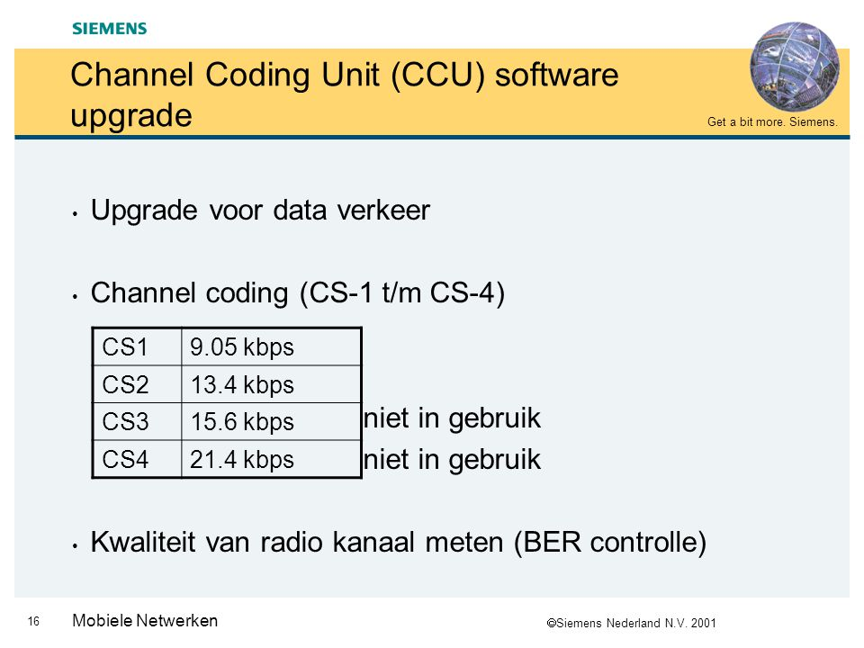  Siemens Nederland N.V. 2001 Get a bit more. Siemens. 16 Mobiele Netwerken Channel Coding Unit (CCU) software upgrade Upgrade voor data verkeer Chann