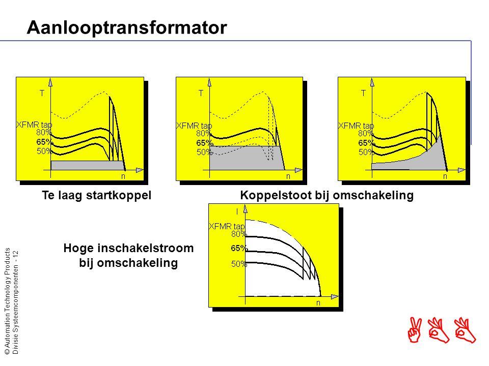 © Automation Technology Products Divisie Systeemcomponenten - 13 ABB Aanlooptransformator Stroom instelbaar per stap van de transformator Koppelstoot bij omschakeling en belaste aanloop Laag tot gemiddeld startkoppel lange starttijd Altijd directe stop
