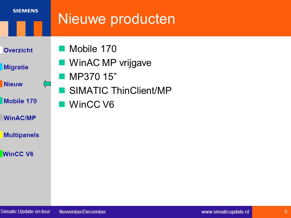 Simatic Update on tour November/December 5 www.simaticupdate.nl Migratie Overzicht Nieuw WinAC/MP Multipanels WinCC V6 Mobile 170 Nieuwe producten Mobile 170 WinAC MP vrijgave MP370 15 SIMATIC ThinClient/MP WinCC V6