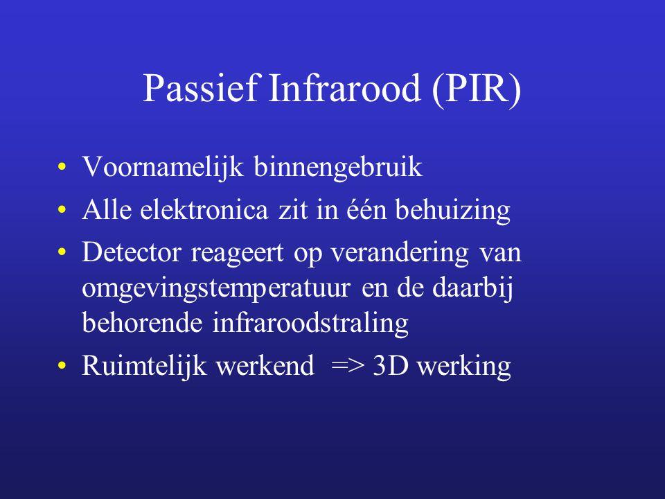 Passief Infrarood (PIR) Voornamelijk binnengebruik Alle elektronica zit in één behuizing Detector reageert op verandering van omgevingstemperatuur en de daarbij behorende infraroodstraling Ruimtelijk werkend => 3D werking