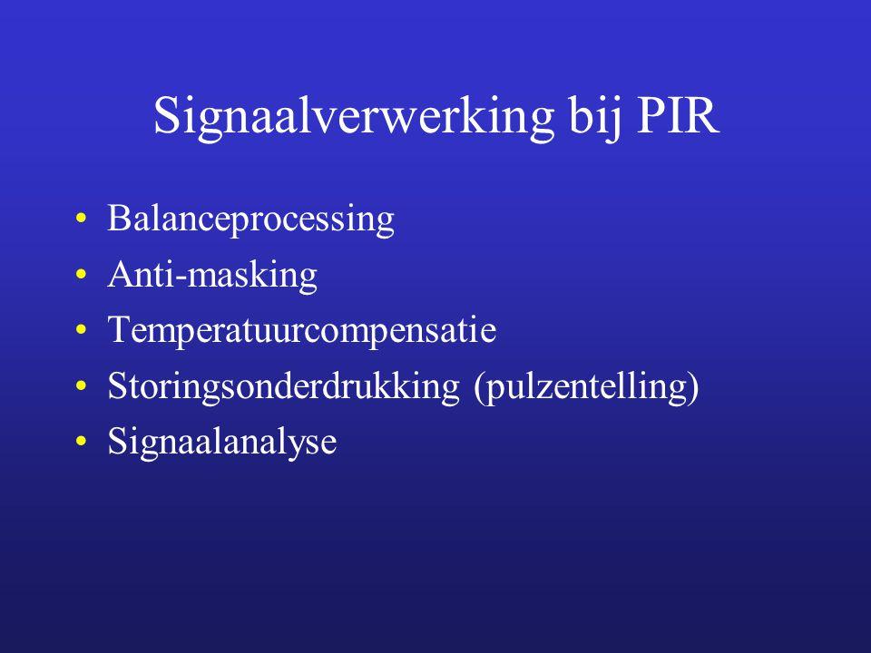 Signaalverwerking bij PIR Balanceprocessing Anti-masking Temperatuurcompensatie Storingsonderdrukking (pulzentelling) Signaalanalyse