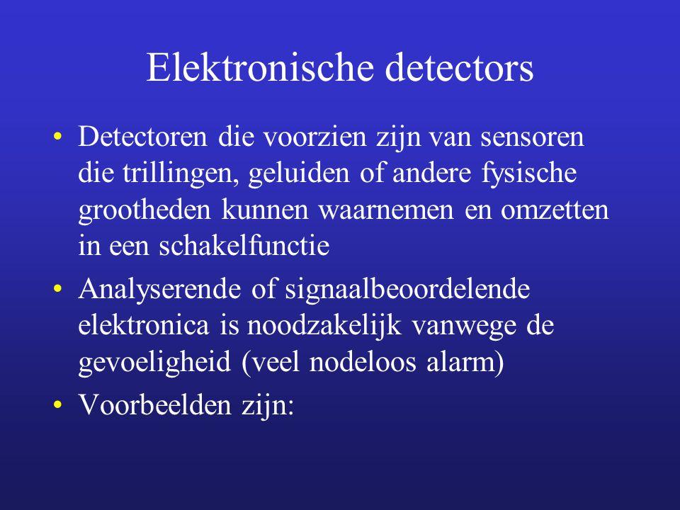 Elektronische detectors Detectoren die voorzien zijn van sensoren die trillingen, geluiden of andere fysische grootheden kunnen waarnemen en omzetten in een schakelfunctie Analyserende of signaalbeoordelende elektronica is noodzakelijk vanwege de gevoeligheid (veel nodeloos alarm) Voorbeelden zijn: