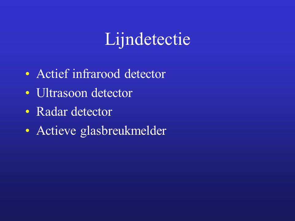 Lijndetectie Actief infrarood detector Ultrasoon detector Radar detector Actieve glasbreukmelder