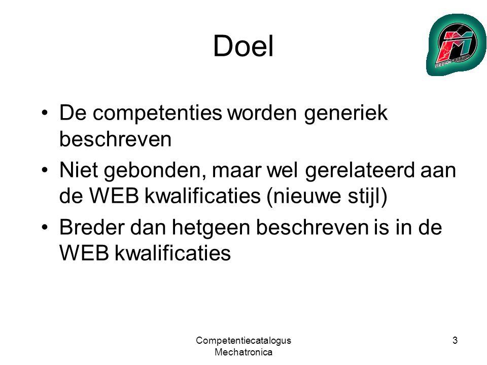 Competentiecatalogus Mechatronica 4 Randvoorwaarden Te gebruiken t.b.v.