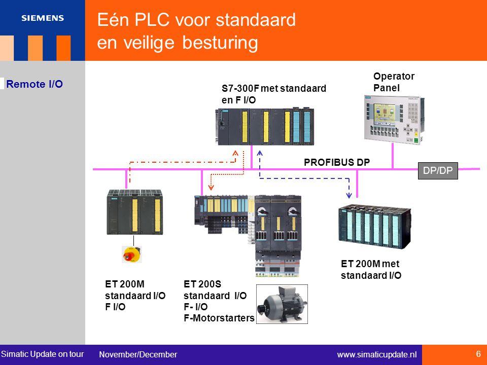 Simatic Update on tour November/December 6 www.simaticupdate.nl Remote I/O S7-300F met standaard en F I/O ET 200M standaard I/O F I/O ET 200M met stan