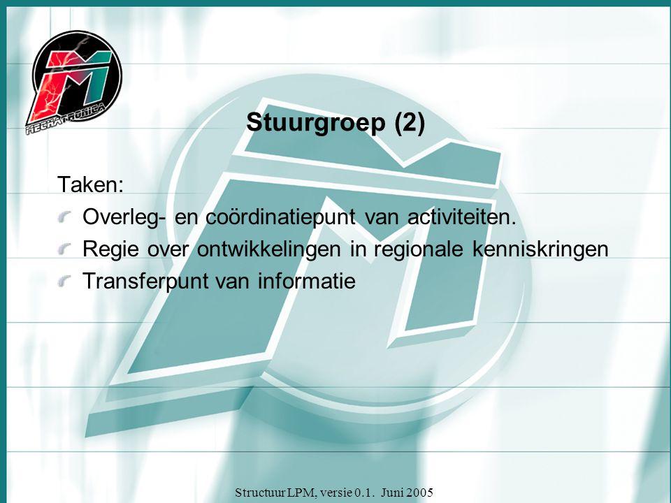 Structuur LPM, versie 0.1. Juni 2005 Stuurgroep (2) Taken: Overleg- en coördinatiepunt van activiteiten. Regie over ontwikkelingen in regionale kennis