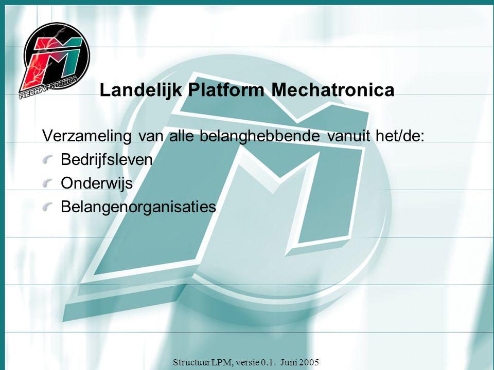 Structuur LPM, versie 0.1. Juni 2005 Landelijk Platform Mechatronica Verzameling van alle belanghebbende vanuit het/de: Bedrijfsleven Onderwijs Belang