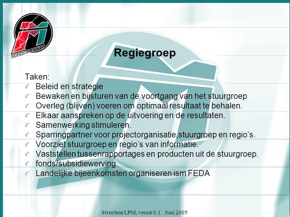 Structuur LPM, versie 0.1. Juni 2005 Regiegroep Taken: Beleid en strategie Bewaken en bijsturen van de voortgang van het stuurgroep Overleg (blijven)