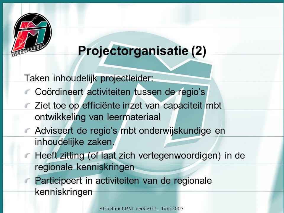 Structuur LPM, versie 0.1. Juni 2005 Projectorganisatie (2) Taken inhoudelijk projectleider: Coördineert activiteiten tussen de regio's Ziet toe op ef
